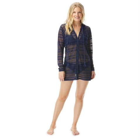 Beach House Indra Lace Hooded Zip Front Cover Up Jacket - Lace Up and Go H25662 3 colours