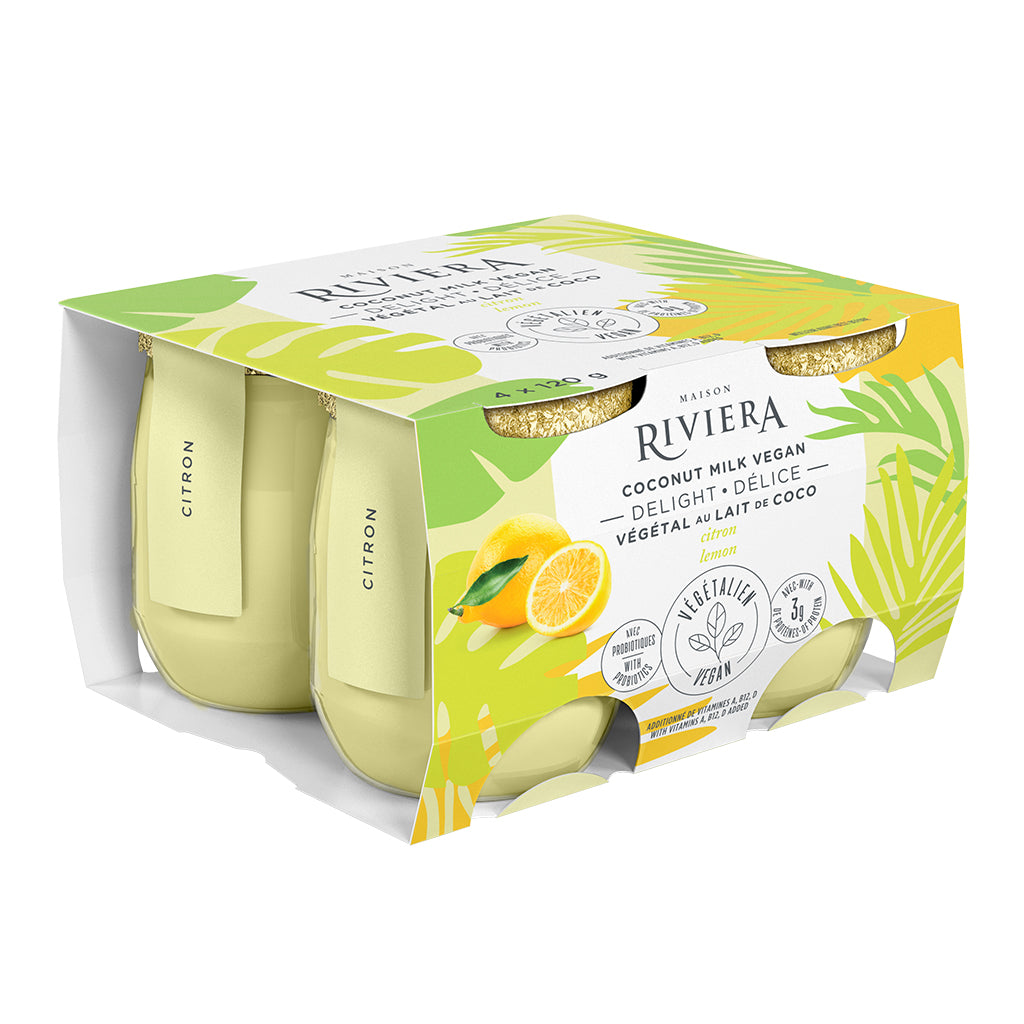 Riviera Coconut Yogurt - 4 pack - Lemon