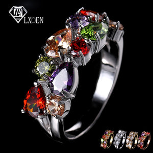 LXOEN Fashion Mona Lisa Silver Color Engagement Ring AAA Zircon Wedding Rings for Women Crystal Jewelry Accessories anillos