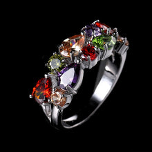 Load image into Gallery viewer, LXOEN Fashion Mona Lisa Silver Color Engagement Ring AAA Zircon Wedding Rings for Women Crystal Jewelry Accessories anillos