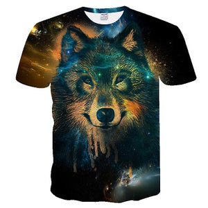 2019 Men's New Summer Personalized T-Shirt Wolf Print T-Shirt 3D Men's T-Shirt Novelty Animal Tops T-Shirt Men's Short Sleeve