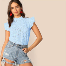 Load image into Gallery viewer, SHEIN Mock-Neck Ruffle Trim Embroidery Eyelet Top Boho White Pink Solid Sleeveless Stand Collar Blouse Women Tops and Blouses