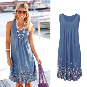 Sleeveless Floral Print Loose Beach Summer Dress Fashion Six Colors Casual Women Dress 2019 Sexy Dress Plus Size S-5XL
