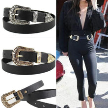 Load image into Gallery viewer, Women Black Leather Western Cowgirl Waist Belt Metal Buckle Waistband New Hot Belts for Women Luxury Designer Brand