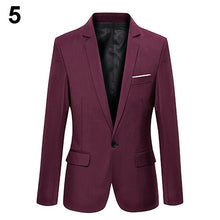 Load image into Gallery viewer, Men Slim Formal Party Business Male Suit Coat One Button Lapel Long Sleeve Pockets Top Autumn Suit Blazer