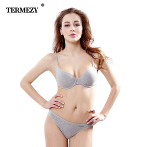 TERMEZY women intimates gray Cotton underwear Top quality bra and panty set push up bralette brassiere lingerie female set
