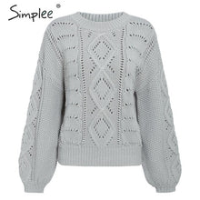 Load image into Gallery viewer, Simplee Hollow out knitted women pullover sweater Lantern sleeve female autumn winter sweater O-neck casual ladies jumper 2019