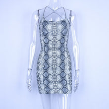 Load image into Gallery viewer, Hugcitar backless sexy bodycon mini dress 2019 summer autumn women fashion club snake print club sleeveless clothes