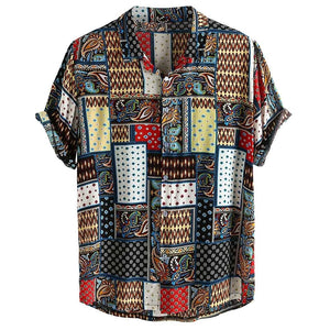 Womail Vintage Ethnic Style Men Shirt Printing Loose Cotton Short Sleeve Stand Collar Breathable Tops Hawaiian Shirts 2019 New