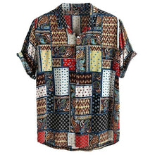 Load image into Gallery viewer, Womail Vintage Ethnic Style Men Shirt Printing Loose Cotton Short Sleeve Stand Collar Breathable Tops Hawaiian Shirts 2019 New
