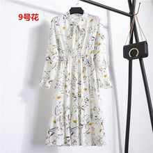 Load image into Gallery viewer, 29 Colors Beautiful Fashion Spring Autumn Women Long Sleeve Dress Retro Collar Casual Slim Dresses Floral Printing Chiffon Sexy