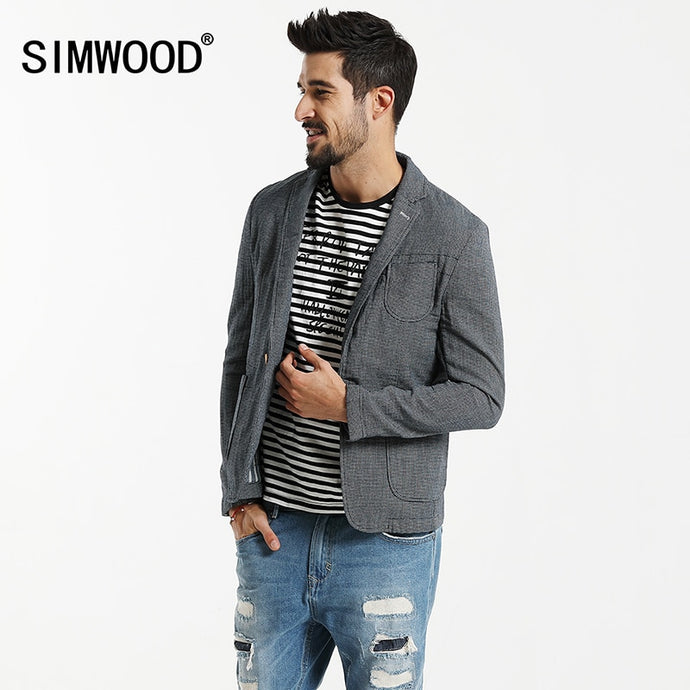 SIMWOOD 2019 Autumn  Casual Blazers Men Plaid Suits  Fashion Coats Pocket Single Button 100% Pure Cotton  Slim Fit XZ6123