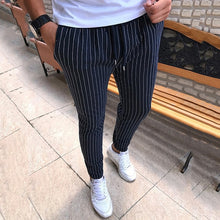 Load image into Gallery viewer, New Striped Pencil Pants Mens 2019 Casual Drawstring Trousers Male Street Fashion Breathable All-match Trousers