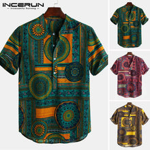 Load image into Gallery viewer, INCERUN Ethnic Style Print Shirt Men Stand Collar Short Sleeve Tops 2019 Casual Men Hawaiian Shirts Streetwear Blusa Masculina