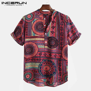 INCERUN Ethnic Style Print Shirt Men Stand Collar Short Sleeve Tops 2019 Casual Men Hawaiian Shirts Streetwear Blusa Masculina