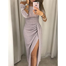 Load image into Gallery viewer, 2019 Winter Women High Split Slash Sexy Dress Elegant Package Hip Club Dress Autumn Off Shoulder Party Dress Femme Robe M0160