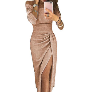2019 Winter Women High Split Slash Sexy Dress Elegant Package Hip Club Dress Autumn Off Shoulder Party Dress Femme Robe M0160