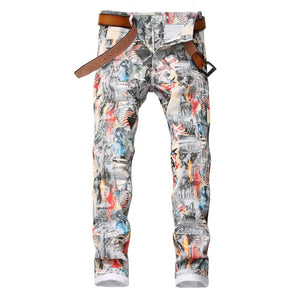 Sokotoo Men's English flag beauty girl 3D printed jeans Slim fit colored drawing painted stretch pants