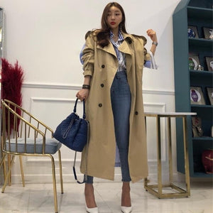 TWOTWINSTYLE Striped Patchwork Windbreaker For Women Long Sleeve Lace Up Trench Coat Female Korean Fashion 2019 Autumn Oversized