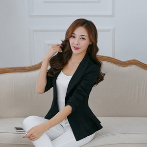 N1907 NF Women Fashion Blazers Long Sleeve Notched Candy Color Slim Suit Women Solid Color Sling Button Blazer Top