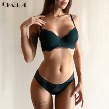 Load image into Gallery viewer, New Fashion Thin Cotton Underwear Set Women Embroidery Brassiere Sexy Bra Panties Set Plus Size D E Cup Lace Lingerie Set Green