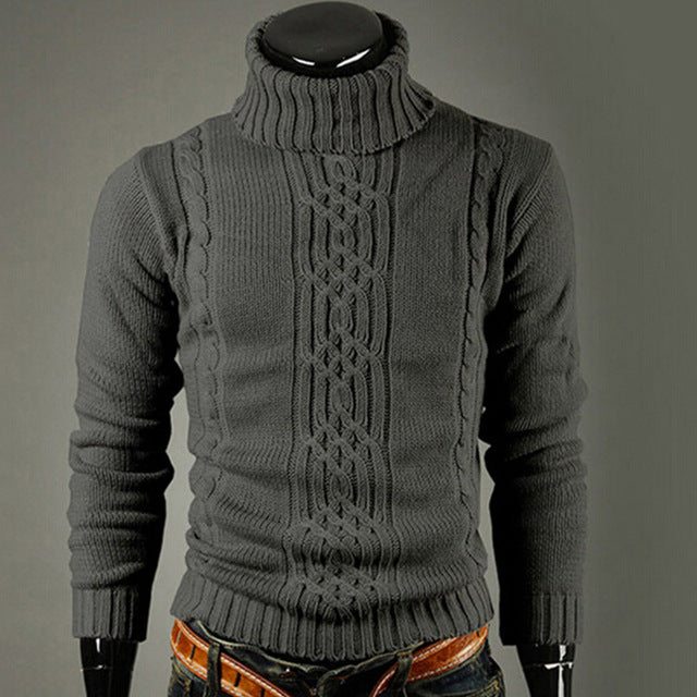 New fashion brand Slim Men's Knit Lapel Long Sleeve Turtleneck Turtleneck Solid Color Regular Sweater for Men Winter High Neck