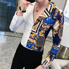 Load image into Gallery viewer, Luxury Black Gold Shirt 2019 Autumn Baroque Men Shirt Long Sleeve Patchwork  Casual Shirt Men Slim Fit Print Party Club Shirt