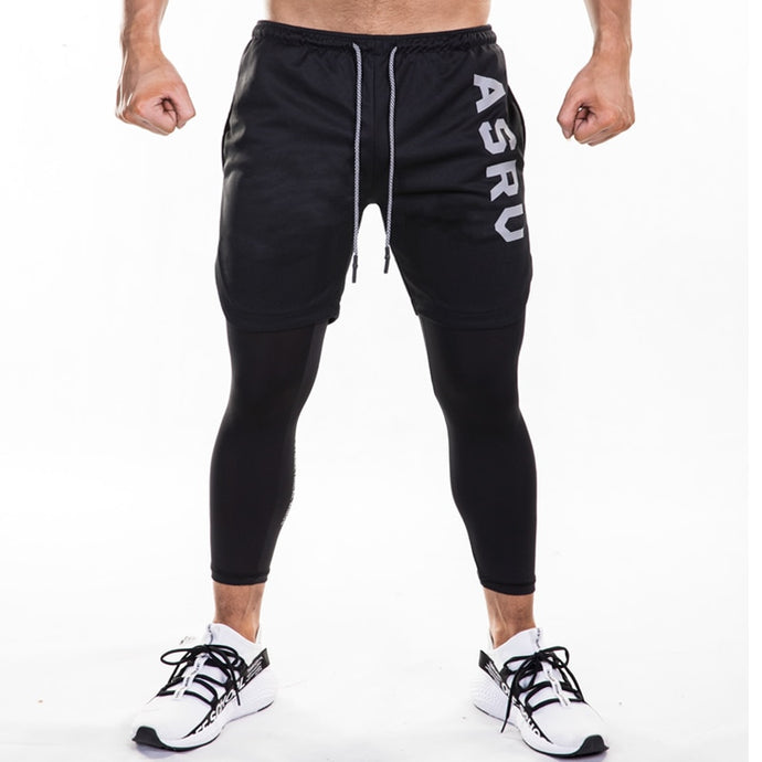FRMARO 2019 new sports pants men's quick dry leave 2 pieces of 9-point outdoor running pants European and American fitness pants