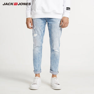 JackJones Men's Skinny Tight-leg Ripped Crop Jeans Men's Denim Pants 218332607