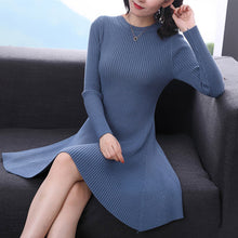 Load image into Gallery viewer, Women Long Sleeve Sweater Dress Women's Irregular Hem Casual Autumn Winter Dress Women O-neck A Line Short Mini Knitted Dresses