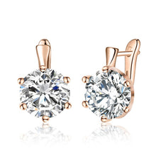 Load image into Gallery viewer, SHUANGR Fashion 10 Colors AAA CZ Element Stud Earrings For Women Vintage Crystal Earrings Statement Wedding Jewelry