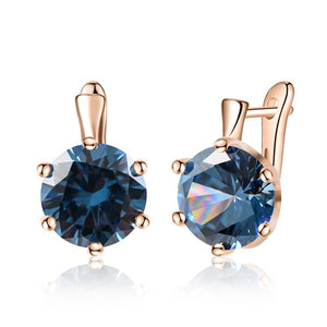 SHUANGR Fashion 10 Colors AAA CZ Element Stud Earrings For Women Vintage Crystal Earrings Statement Wedding Jewelry