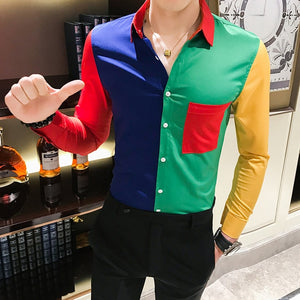 Luxury Black Gold Shirt 2019 Autumn Baroque Men Shirt Long Sleeve Patchwork  Casual Shirt Men Slim Fit Print Party Club Shirt