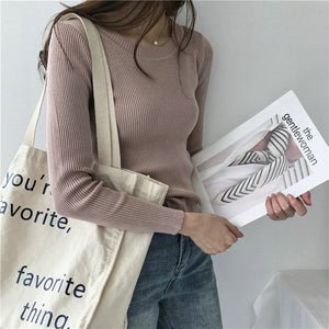 BOBOKATEER Pink Knitted Sweater Women Clothes Black Slim Pullover Tops Casual White Winter Thin Sweaters Pull Femme Autumn 2019