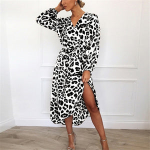 Leopard Dress 2019 Women Vintage Long Beach Dress Loose Long Sleeve Deep V-neck A-line Sexy Party Dress Vestidos de fiesta