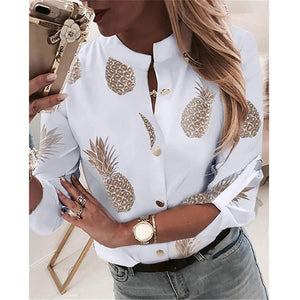 Fanbety Women Adjustable Sleeve Chains Pineapple Print Button blouse shirts Women Elegant Leisure Top sexy V-Neck Basic Blusas