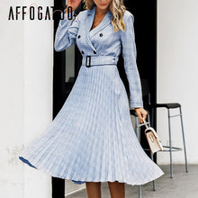 Load image into Gallery viewer, Affogatoo Elegant button belt Plaid women blazer dress Sexy v-neck pleated office ladies dress Long sleeve female party dresses