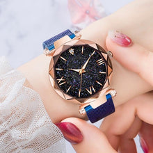 Load image into Gallery viewer, Top Brand Watches For Women Rose Gold Mesh Magnet Buckle Starry Quartz Watch Geometric Surface Casual Women Quartz Wristwatch
