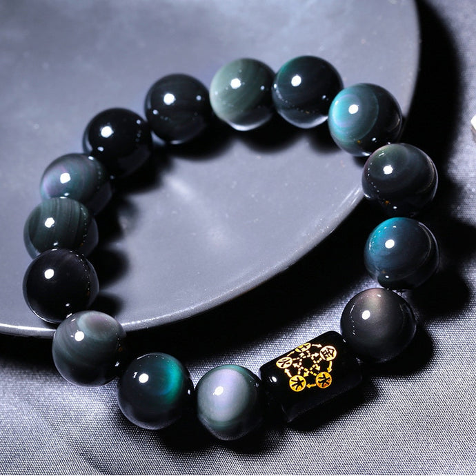 High quality Rainbow Eye Obsidian Bracelets & Bangles Black Round Stone beads Lucky Energy Bracelet Couple's Gift Jewelry