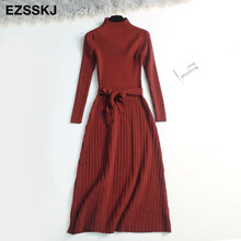 Load image into Gallery viewer, 2019 autumn winter maxi sweater dress women long sleeve OL female long sweater dress with belt elegant a-line solid slim dress