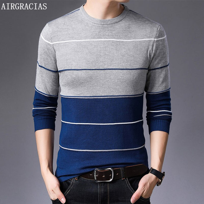 AIRGRACIAS 2019 New Sweater Men Fashion Brand Pullover Striped Slim Fit Knitred Woolen Autumn Casual Men Clothes pull hombre