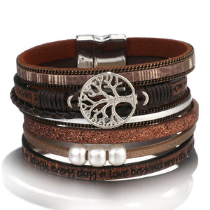 ALLYES Leather Bracelets for Women 2019 Fashion Tree of Life Ladies Bohemian Multilayer Wide Wrap Bracelet Female Jewelry