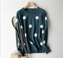 Load image into Gallery viewer, GCAROL New Women Polka Dot Sweater 30% Wool Oversized Jumper Casual Streetwear Fall Winter Cute Knitted Pullover M-2XL