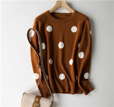 GCAROL New Women Polka Dot Sweater 30% Wool Oversized Jumper Casual Streetwear Fall Winter Cute Knitted Pullover M-2XL
