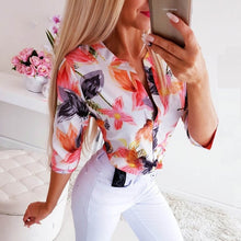 Load image into Gallery viewer, Fanbety Women Adjustable Sleeve Chains Pineapple Print Button blouse shirts Women Elegant Leisure Top sexy V-Neck Basic Blusas