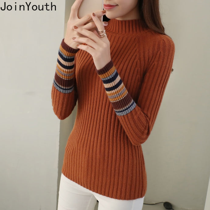 JoinYouth Half Turtleneck Warm Pullovers 2019 Autumn Winter Clothes Women Striped Warm Sweaters Korean Pull Femme Slim J223