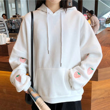 Load image into Gallery viewer, Harajuku Strawberry Embroidery Lavender White Sweatshirt Autumn Winter Women Kawaii Loose Long Sleeves Tops Oversized Hoodies