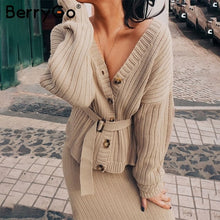 Load image into Gallery viewer, BerryGo Two-piece women knitted dress set Elegant autumn winter sweater dress suits Long sleeve button sashes pure skirt suit