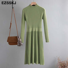 Load image into Gallery viewer, elegant OL turtleneck slim long Sweater dress women Thick knit Autumn Winter dress female Slim A-line basic dress casual
