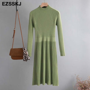 elegant OL turtleneck slim long Sweater dress women Thick knit Autumn Winter dress female Slim A-line basic dress casual